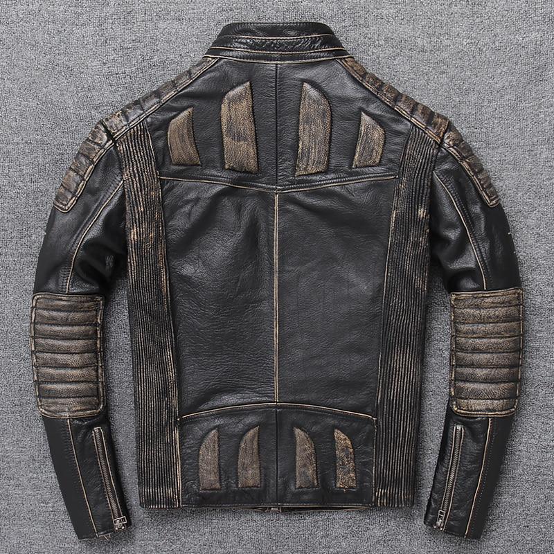 Jacket Cowhide Plus-Size Motorcycle-Coat Biker's Vintage XXXXXL Genuine Black Retro Slim