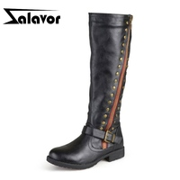 ZALAVOR Knee High Boots For Women Casual Flats Outdoor Shoes Women Winter Knighting Boots Buckle Vintage Footwear Size 34 43