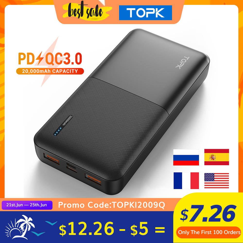TOPK I2009Q Power Bank 20000mAh Portable Charger USB Type C PD Quick Charge 3.0 Fast Charging Powerbank External Battery
