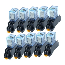 цена на 10Pcs 220V AC Coil Power Relay LY2NJ DPDT 8 Pin HH62P JQX-13F with Socket Base
