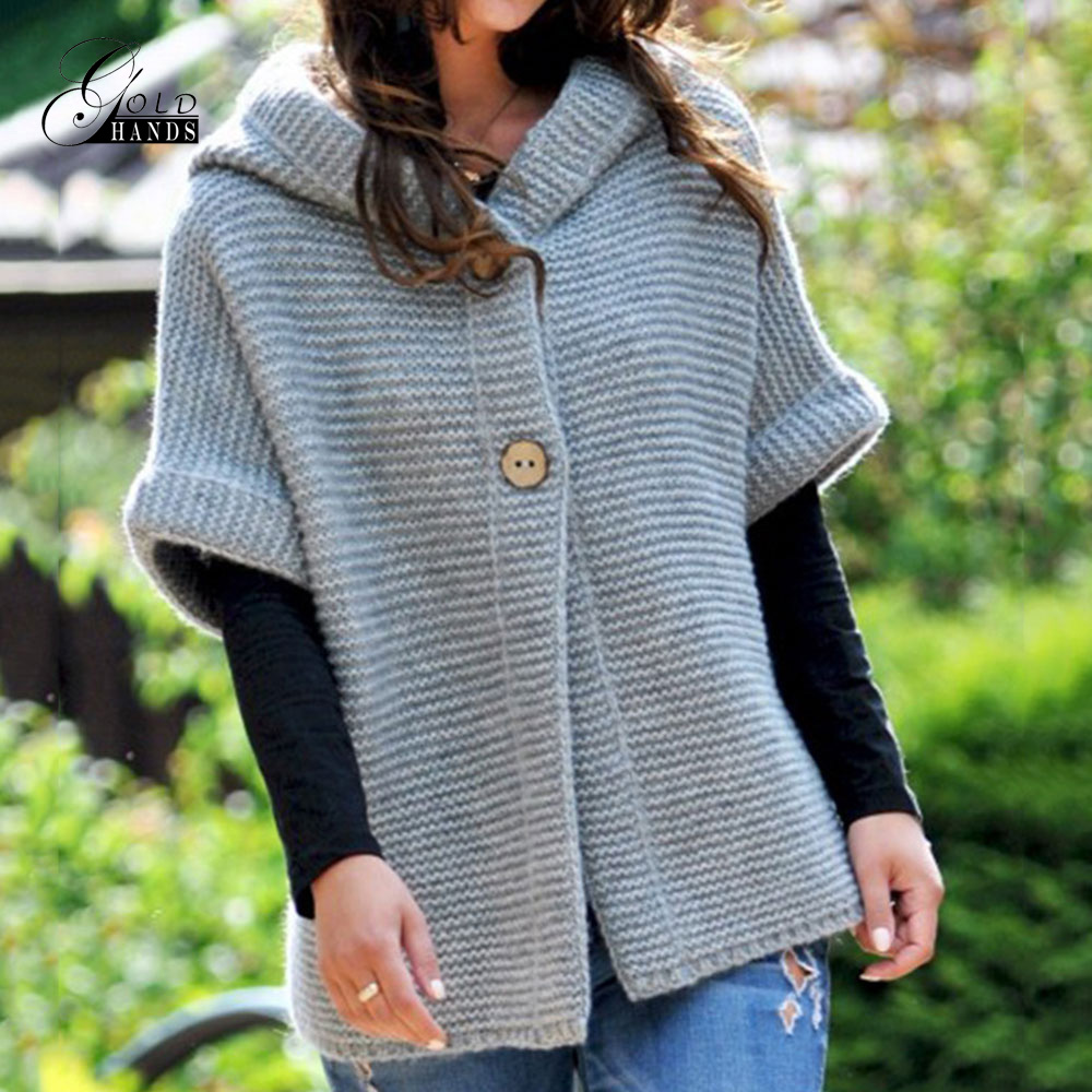 Gold Hands 2019 Autumn Winter Women Coat Sweater Plus Size Cardigan Solid Hooded Casual Female Knitted Long Sweaters Streetwear