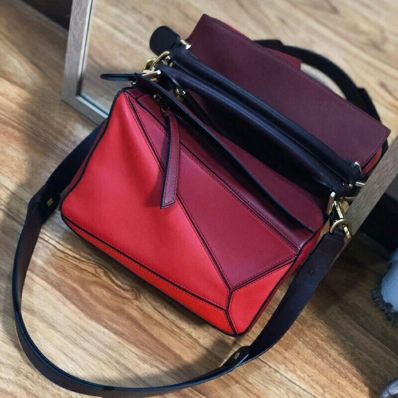 Bolso de mujer de marca con paneles de diseño Real de cuero de vaca suave bolso geométrico para mujer bolsos de hombro con correa larga bolsa de asas - 4