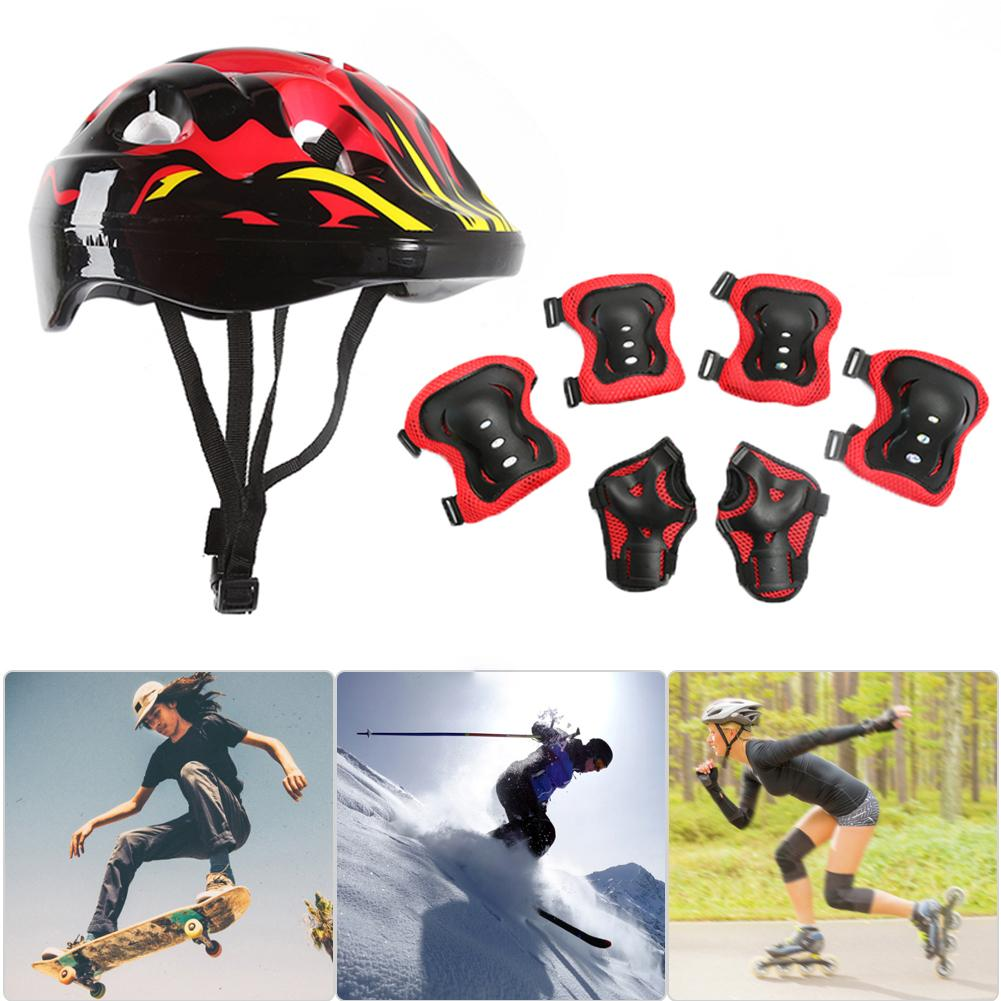 7Pcs Kids Outdoor Roller Skate Bicycle Sports Helmet Knee Elbow Palm Safety Pads Protective Gear Set