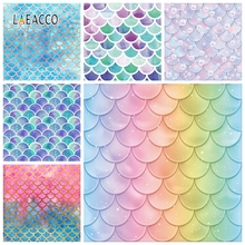 Laeacco Little Mermaid Photophone Fish Scales Photography Backgrounds Baby Shower Newborn Birthday Photo Backdrops Portrait Prop