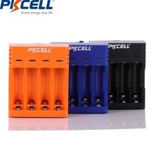 Carregador de bateria pkcell para aa/aaa baterias recarregáveis 1.2v nicd nimh carregador de bateria com 4slots display lcd cabo usb