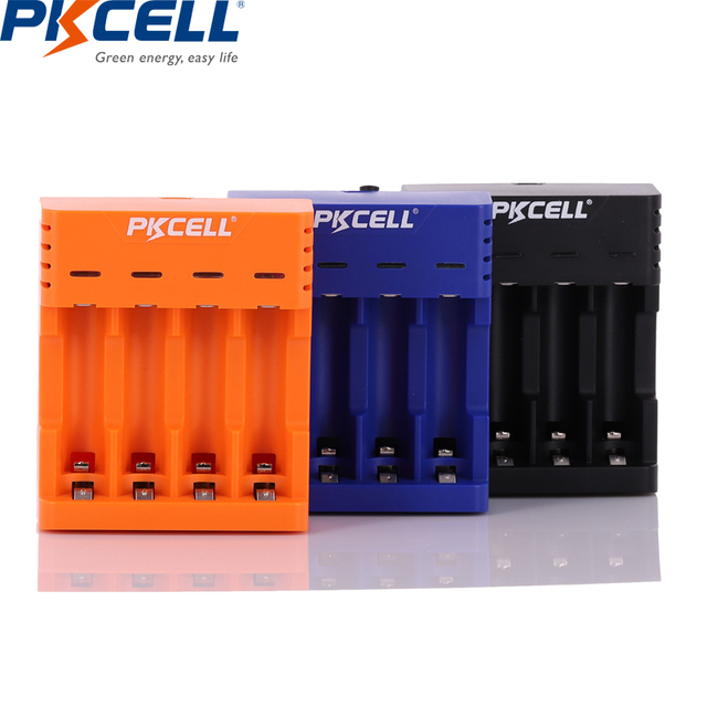 PKCELL Battery Charger for AA/AAA Rechargeable Batteries 1.2v NiCd NiMh Battery charger with 4Slots LCD Display Usb Cable