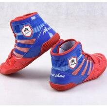Взрослые дети Профессиональный Бокс Борьба борьба Тяжелая атлетика обувь Stong grip противоскользящие тренировочные боксерские сапоги для боя