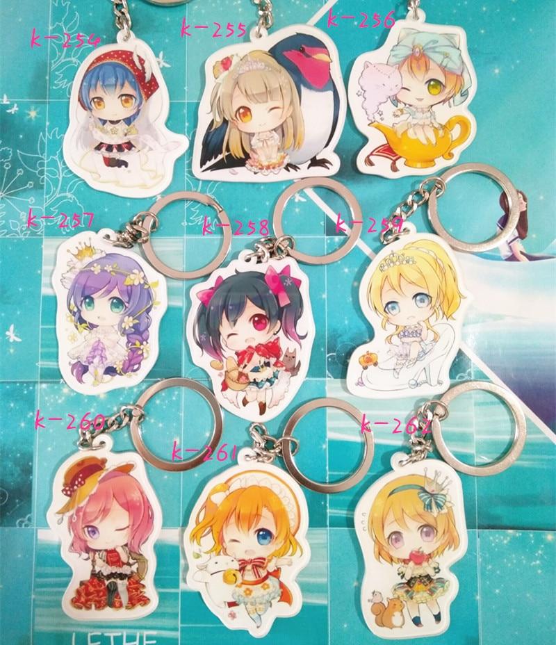 Anime Lovelive Acrylic Keychain Keyring Minami Kotori Kousaka Honoka Yazawa Nico Nozomi Charm Pendant Chains Gift Cosplay Props