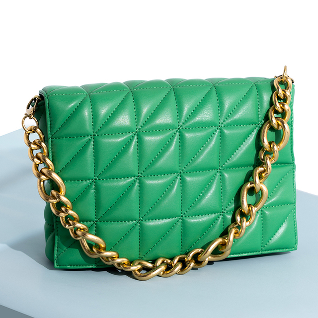 Branded Women's Shoulder Bags 2020 Thick Chain Quilted Shoulder Purses And Handbag Women Clutch Bags Ladies Hand Bag 4