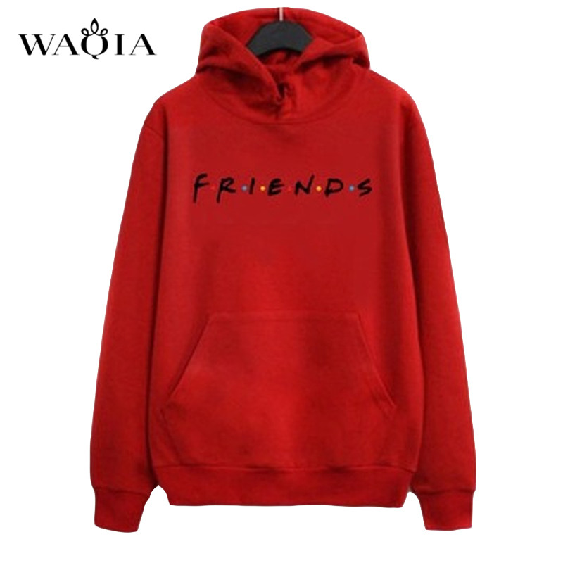 Autumn Women Friends Hoodies Harajuku Letters Print Pocket Warm Thicken Pullovers Tops  Hip Hop Loose Solid Female Sweatshirts
