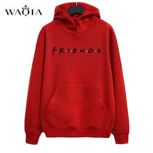 Autumn Women Friends Hoodies Harajuku Letters Print Pocket Warm Thicken Pullovers Tops Hip Hop Loose Solid Female Sweatshirts(China)