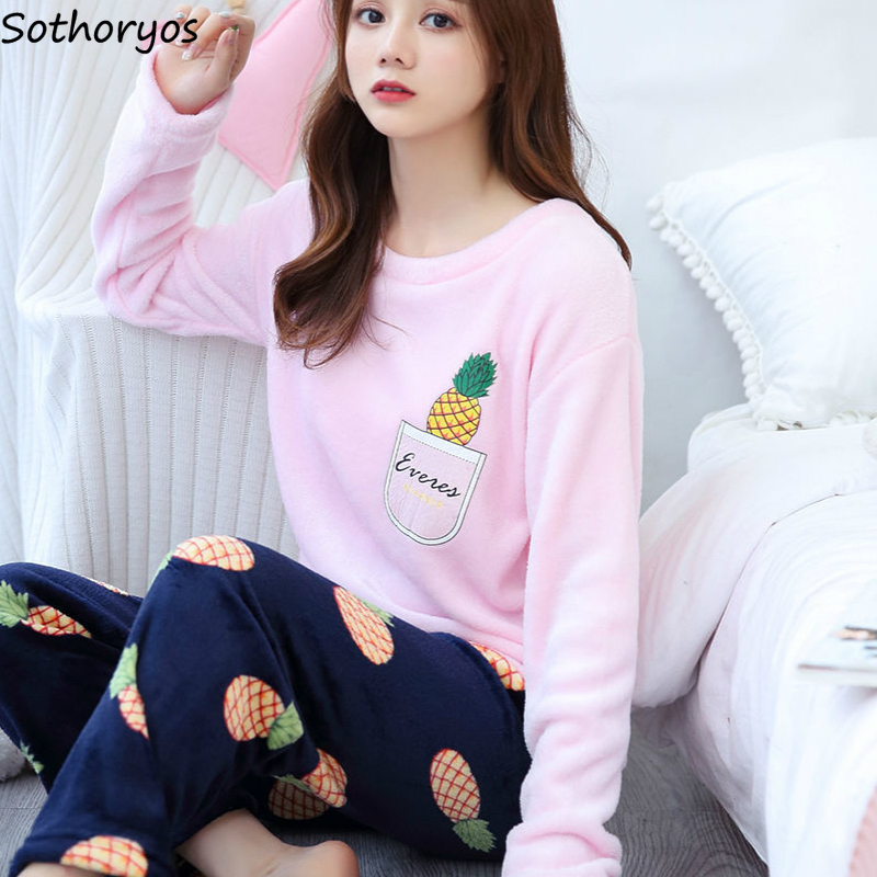 Pajama Sets Women Leisure Coral Fleece Daily Thickening Soft Warm Comfortable Elegant Womens Korean Style Printed Long Sleeve