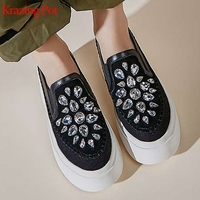 Krazing pot chic cow leather platform sheep suede diamond sneakers round toe slip on gorgeous high quality vulcanized shoes L32