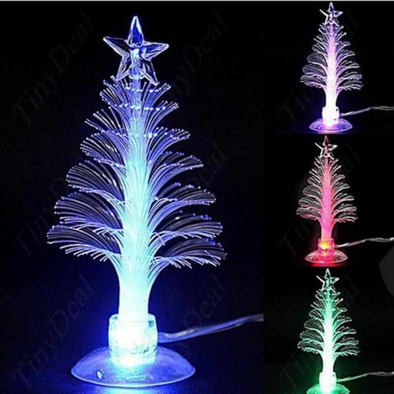 Christmas Tree Color LED Night Light Originality Romantic PVC Optical Fiber Fiber USB Port Bedroom Desk Lamp Home Decor