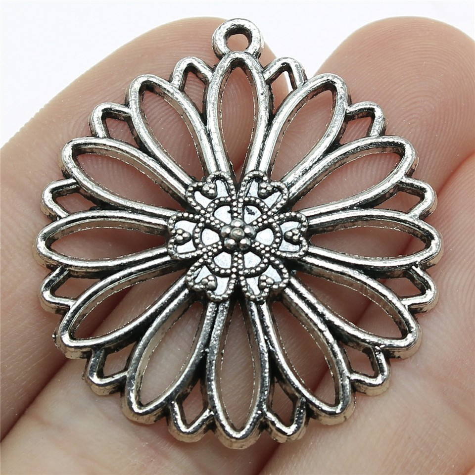 4pcs Round Flower Pendants 38mm FB-051-5 Floral Hair Accessories Beaded Raffia Tassel Charms for Earrings