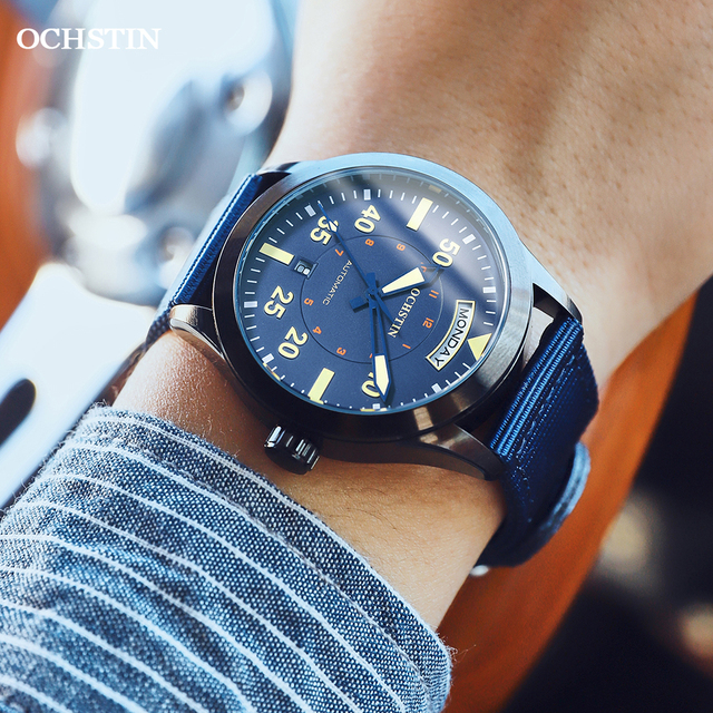Modern Men's Watches 2020 Pilot Automatic Mechanical Wristwatch Military Luxury OCHSTIN Date Week Double Display Gifts For Male 4