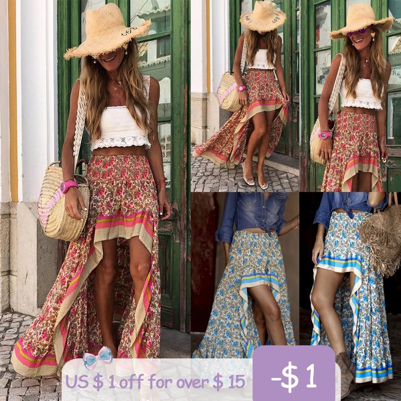 Fashion Unique Design Front Short Rear Length Print Maxi Skirts Women Sexy High Waist Boho Beach Elegant Irregular Long Skirts