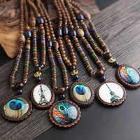 Neue Design Modus Pfau Feder Ethnische Halskette, Nepal Schmuck Handgemachte Sandelholz Lange Pullover Vintage-schmuck Halskette