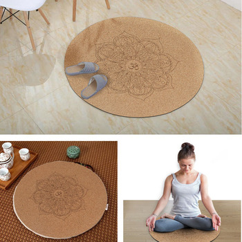 Yoga Mat Little Round Cork Rubber 60x60cmx3mm Non Slip Yoga Cushion Meditation Cushion Pad Pilates Pad for Home Outdoor
