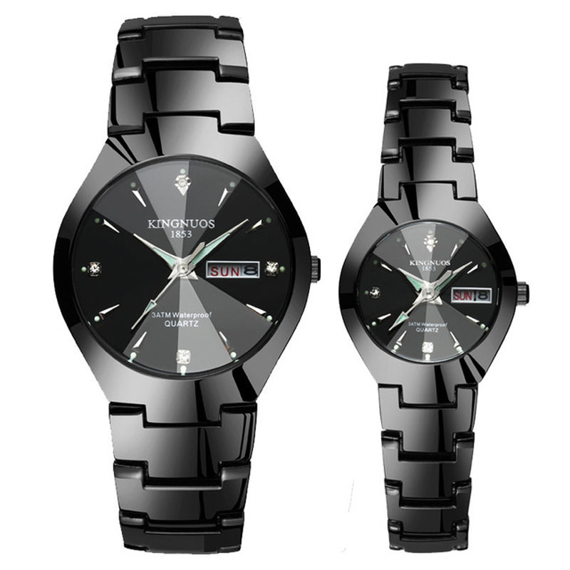 Couple Watches Pair Men And Women Quartz Wristwatch Steel Waterproof Luminous Pointer Day/Date Dual Calendar Fashion Paired Hour