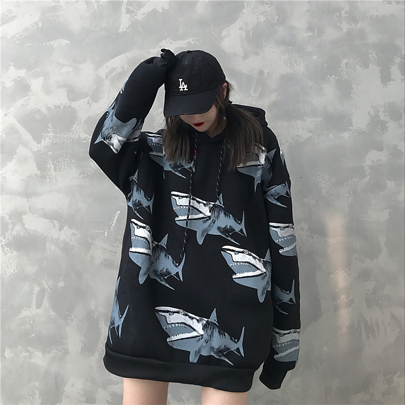Hot Sale Shark Print Men's Hoodies 2019 Autumn Winter Fashion Harajuku Hip Hop Streetwear Warm Funny Casual Couple Sweatshirt
