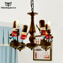 American Soldier Toy Lampshade Chandelier Lighting Creative Bedroom Overhead Home Lighting Fixtures Children Room Hanging Lamp