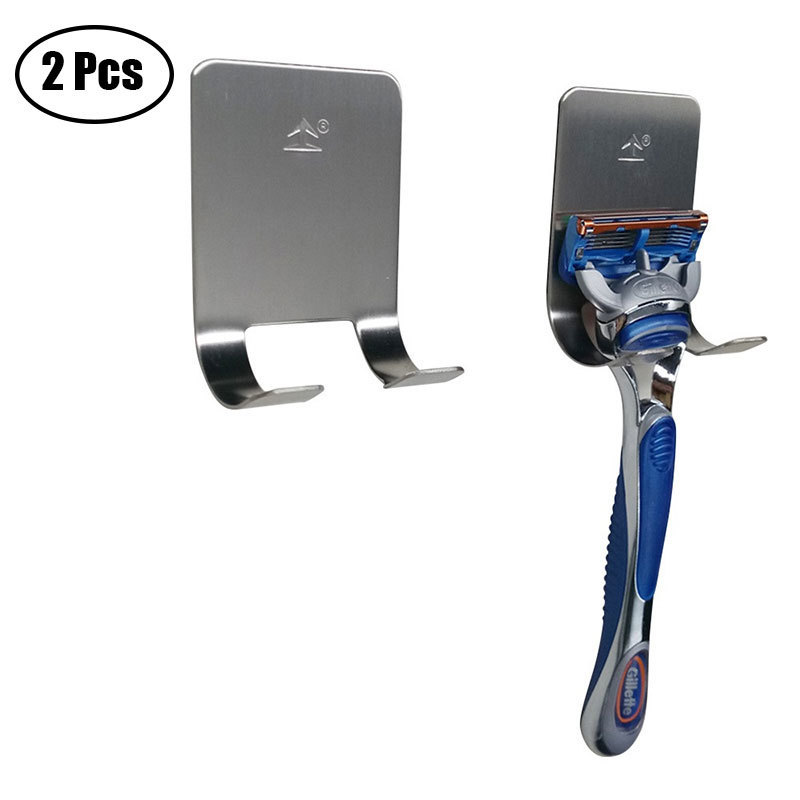 2 Pc/set New Men Shaving Shaver Shelf 304 Stainless Steel Razor Holder Shaving Razor Rack Bathroom Viscose Razor Hook