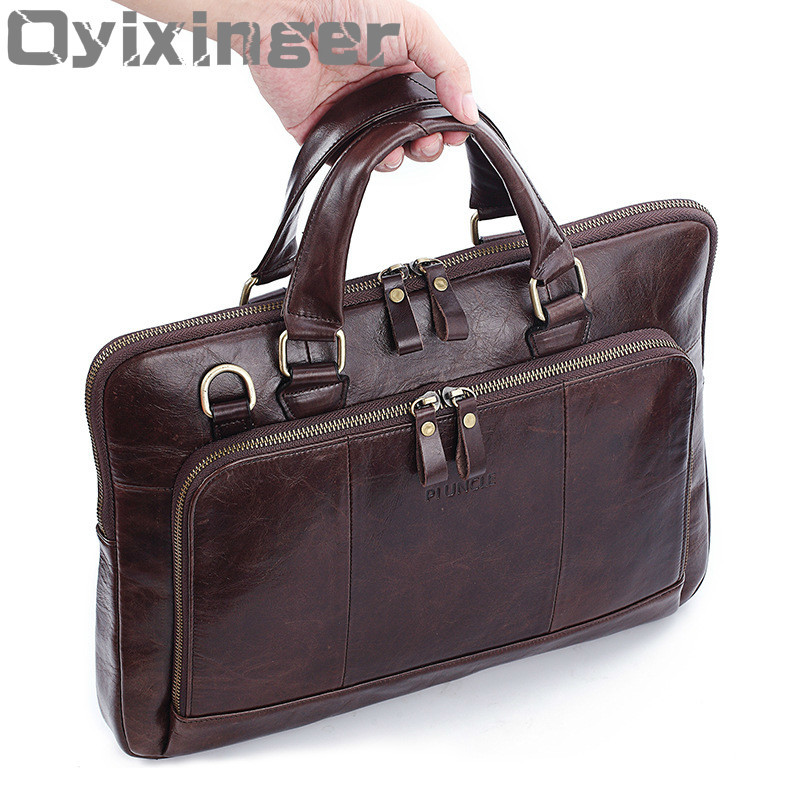 OYIXINGER Classic Briefcase Genuine Natural Leather Briefcases Laptop Men's Handbags Messenger Shoulder Bags Men Crossbody Bags
