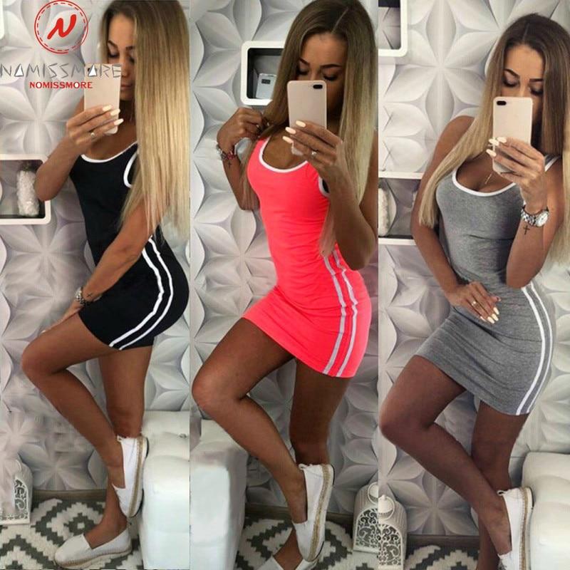 Women Casual Sport Dress Patchwork Design Side Stripe Decor O-Neck Slim Mini Sportswear Tennis Mini Dress