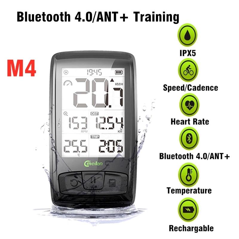 Meilan ordenador inalámbrico de bicicleta con Monitor de ritmo cardíaco de pecho Sensor de velocidad bicicleta velocímetro Bluetooth 4,0 hormiga ciclismo ordenador