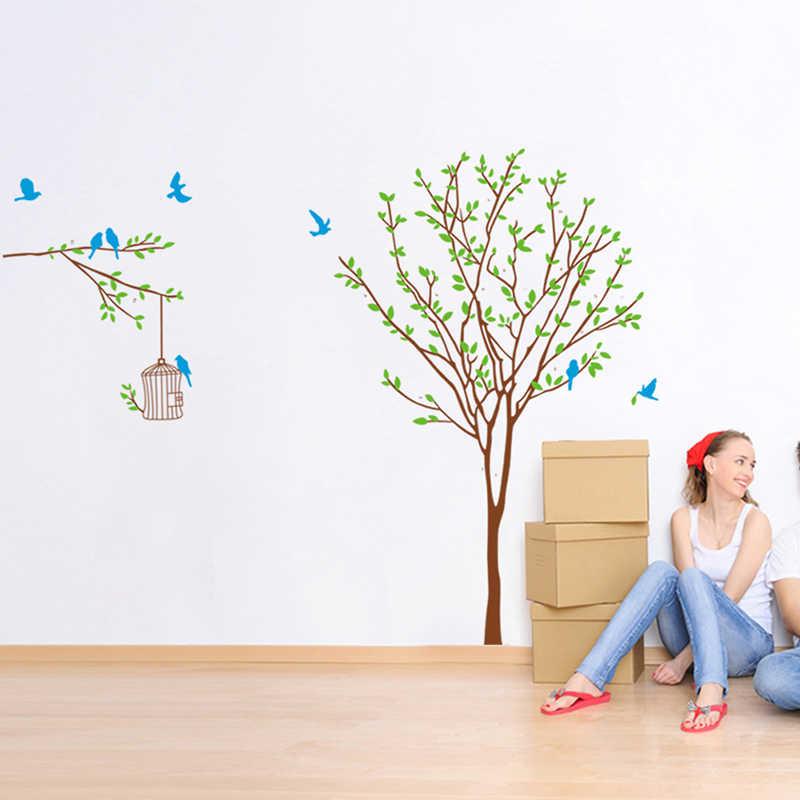 Große Vögel Birdcage Baum Ast Blume Floral Wand Aufkleber Decals Home Decor TV hintergrund Wohnzimmer Schlafzimmer Wandbild Poster