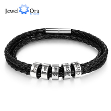 Personalized Stainless Steel Braided Rope Charm Bracelets Custom Men Leather with 2-5 Names Beads Gift for Boyfriend