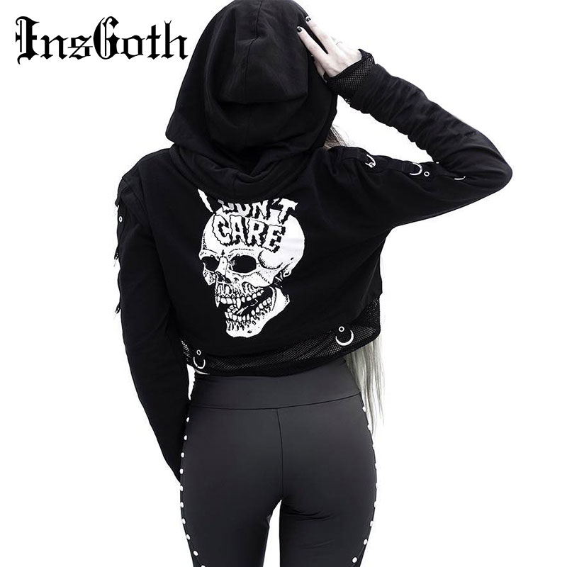 InsGoth Women Sweatshirts Cropped Hoodies Gothic Skull Printed Black Loose Short Hoodies Mesh Patchwork Female Streetwear Hooded