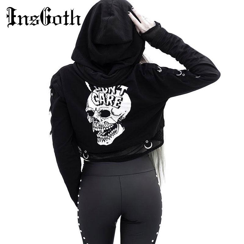 InsGoth Women Sweatshirts Cropped Hoodies Gothic Skull Printed Black Loose Short Hoodies Mesh Patchwork Female Streetwear Hooded