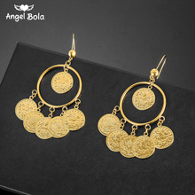 Islam muzułmanin starożytne monety kolczyki złoty kolor arabski pieniądze znak turecki Allah kolczyk bliskowschodni biżuteria Drop Shipping