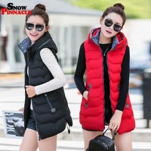 Image 3 - Winter Long vest women Casual Slim thick warm Autumn hooded sleeveless waistcoat long zipper female cotton padded jacket