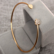 Ailodo Double Heart Crystal Cuff Bangles For Women Simple Triangle Open Adjustable Charm Bracelets Fashion Jewelry Gift LD336-7