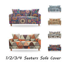 geometric elastic sofa cover for living room modern sectional corner sofa slipcover couch cover chair protector 1 2 3 4 seater Mandala Elastic Sofa Cover Spandex Bohemian Polyester Corner Sofa Couch Slipcover Chair Protector Living Room 1/2/3/4 Seater