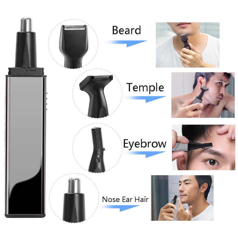 ANLAN 電気鼻耳毛トリマー充電式ひげ眉毛トリマーかみそり 4 in1 電気鼻耳シェーバーヘアカッター