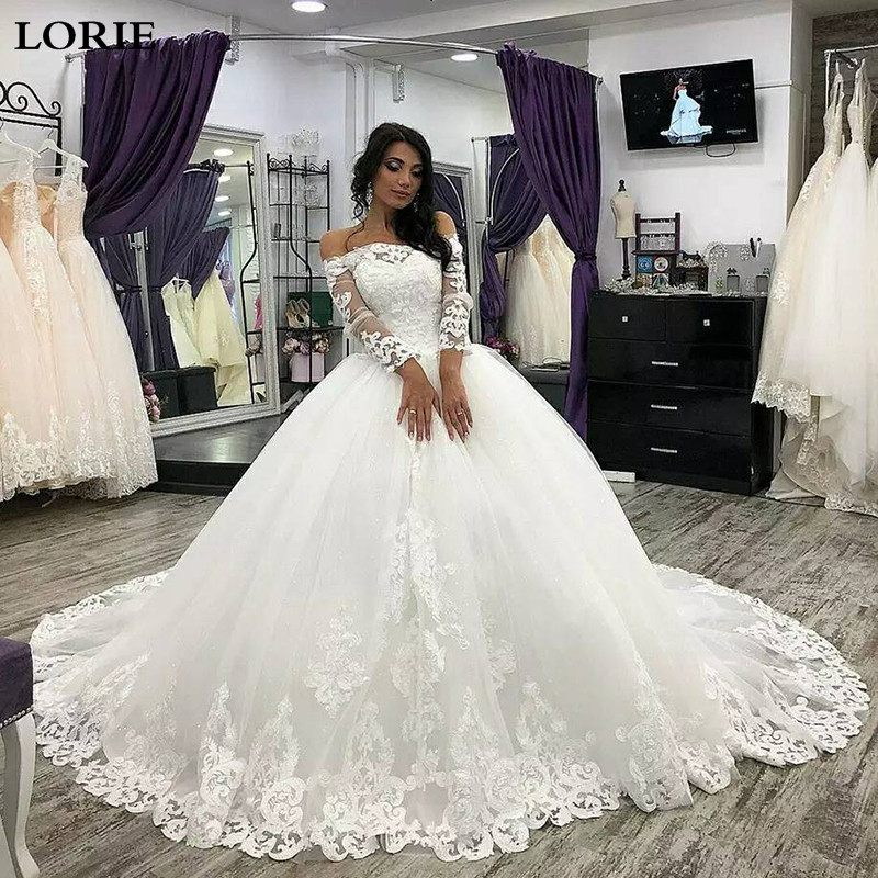 LORIE Princess Wedding Dress Long Sleeve Lace Ball Gowns Bride Dress Off The Shoulder Vestidos De Novia Dubai Bride Dresses