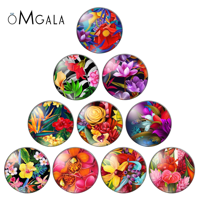 Vintage Mix Colorful Flower Rose Photo Flatback Round Glass Cabochons 25mm 20mm 18mm 14mm 12mm 10mm Diy Jewerly Findings