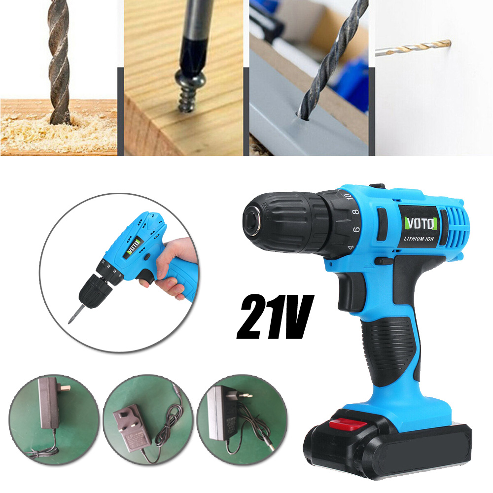 21V Electric Cordless <font><b>Drill</b></font> <font><b>Driver</b></font> Repair Tool Rechargeable W/ <font><b>Battery</b></font> & Charger Brand New And High Quality image