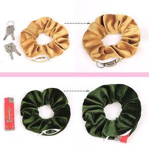 Image 4 - ベルベットのヘア Scrunchies ジッパー女性シュシュ弾性ヘアバンド女の子ベロア帽子ポニーテールホルダー Pleuche ヘアネクタイバッグ 0925