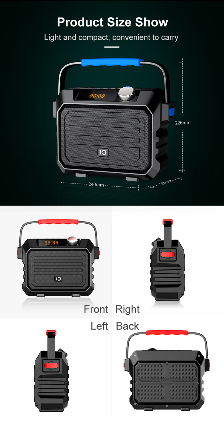Tragbare HIFI lautsprecher Hohe qualität FM radio 30W Mini karaoke Lautsprecher PA System Bluetooth Lautsprecher