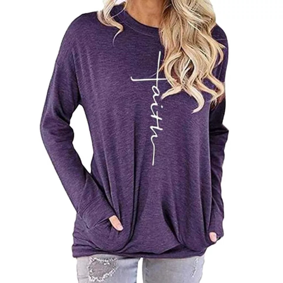 Women's Casual Round Neck Sweatshirt Shirts Tops Blouse With Pocket Faith Letter Pullover Autumn Female Fashion Sweatshirt