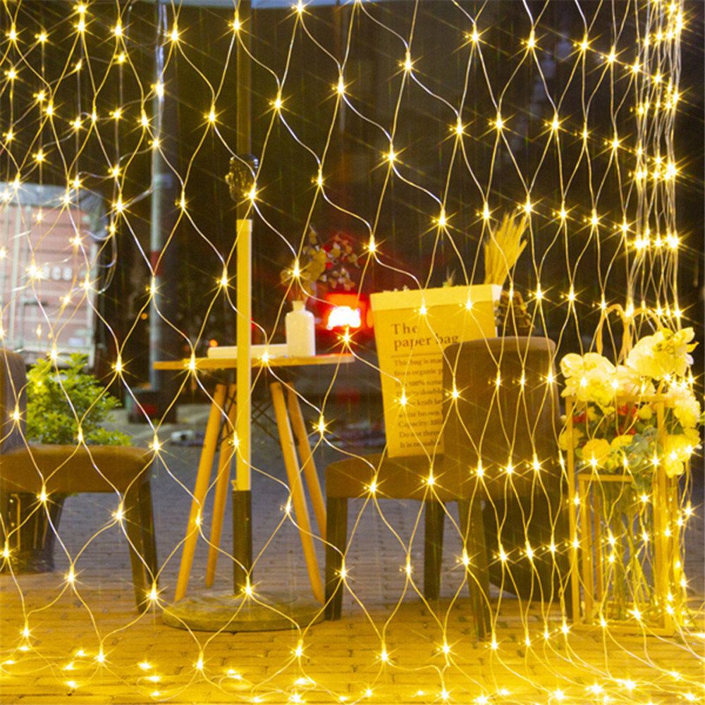 3MX2M Mesh Christmas Light Outdoor Decoration LED Net Light String Garland Xmas Party Garden Wedding Window Curtain Lights Fairy