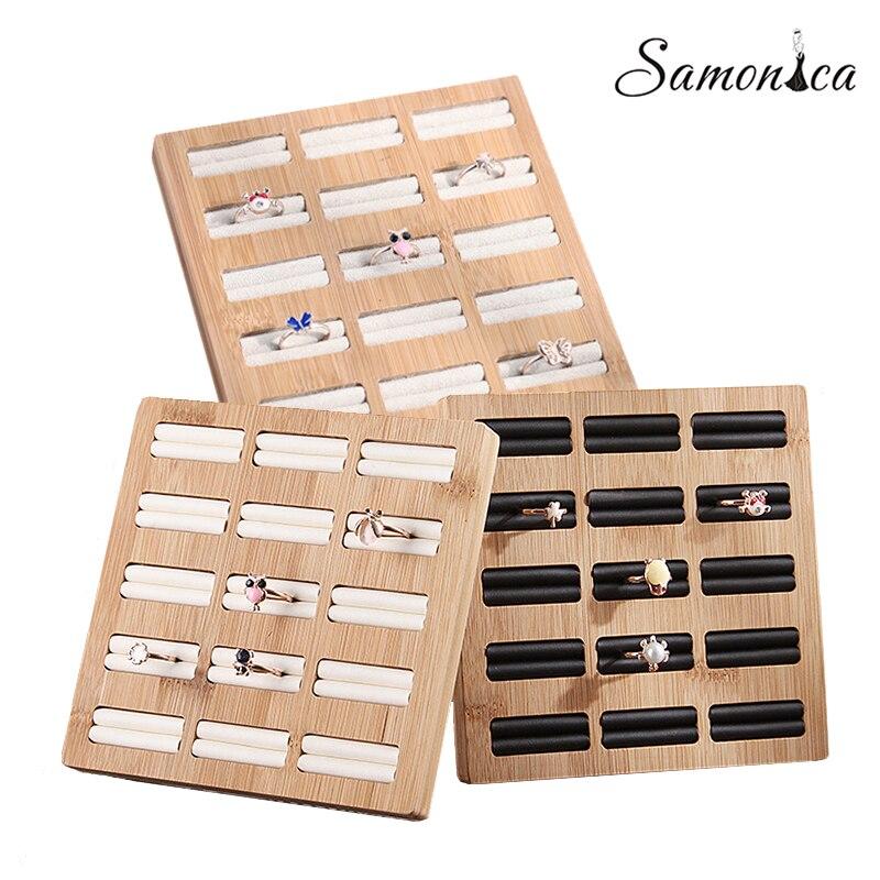 15 Grid Bamboo + PU / Velvet Ring Earrings Organizer Makeup Storage Rack Jewelry Rings Display Board Desktop Counter Display