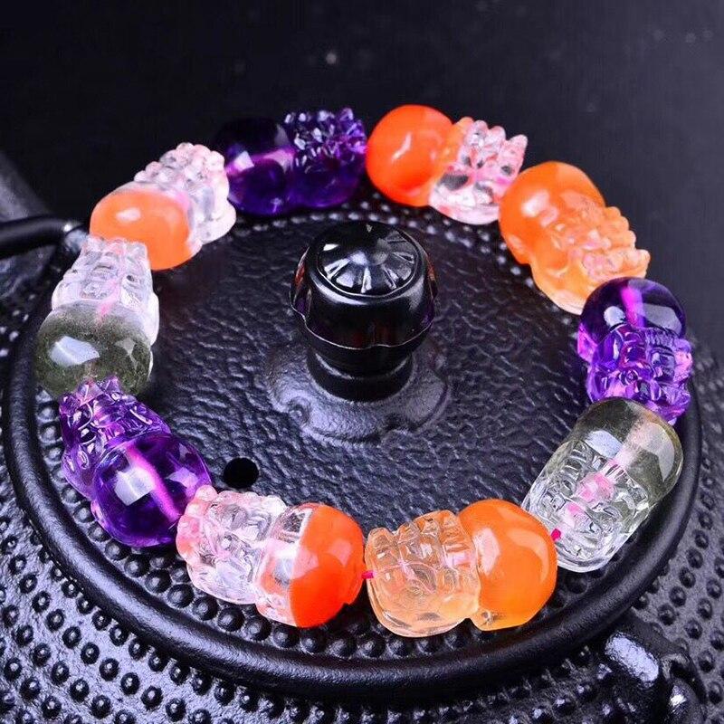 Las pulseras de cristal Natural de Color fino tallan a mano la pulsera de perlas de Pixiu ayudan a las mujeres de los hombres de la joyería de cristal JoursNeige - 2