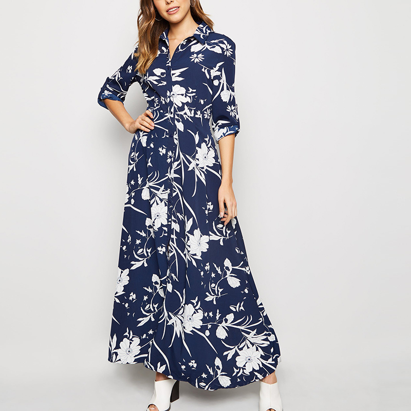 ZOGAA Floral Print Long Women Dress Vintage Loose Female Buttons Shirt Dress Elegant Turn Down Collar Lady Office Split Dresses