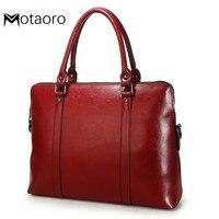 Women's Handbags Genuine Leather Briefcase For Women 14.1 Inch Laptop Bag OL Office Ladies Shoulder Messenger Bags Maletin Mujer